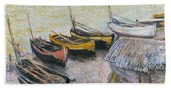Boats On The Beach Beach Towel