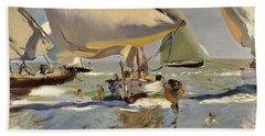 Boats On The Shore Beach Sheet by Joaquin Sorolla y Bastida