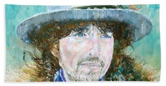 Bob Dylan Oil Portrait Beach Sheet by Fabrizio Cassetta