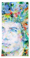 Bob Dylan Watercolor Portrait.3 Beach Sheet by Fabrizio Cassetta