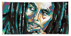 Bob Marley Watercolor Portrait.7 Beach Sheet
