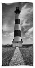 Bodie Island Light In Monochrome Beach Towel