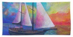Beach Towel featuring the painting Bodrum Gulet Cruise by Tracey Harrington-Simpson