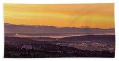 Boeing Seatac And Rainier Sunrise Beach Towel