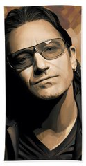 Bono U2 Artwork 2 Beach Sheet by Sheraz A