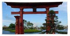 Beach Towel featuring the photograph Bonsai Pavillion by David Nicholls