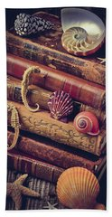 Books And Sea Shells Beach Towel