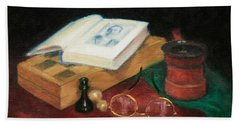 Books-chess-coffee Beach Towel