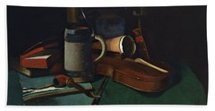 Books Mug Pipe And Violin Beach Towel by John Frederick Peto