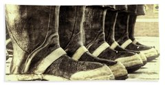 Boots On The Ground Monotone Beach Towel