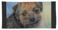 Beach Towel featuring the painting Border Terrier Jack by Richard James Digance
