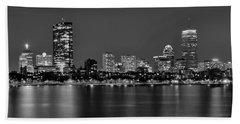 Boston Back Bay Skyline At Night Black And White Bw Panorama Beach Sheet