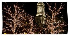 Boston Custom House With Christmas Lights Beach Towel