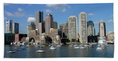Boston Habor Skyline Beach Towel