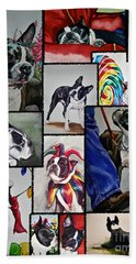Boston Terrier Watercolor Collage Beach Towel