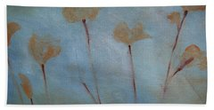 Beach Towel featuring the painting Botanical Poppies by Jani Freimann
