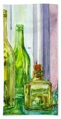 Bottles - Shades Of Green Beach Towel by Anna Ruzsan