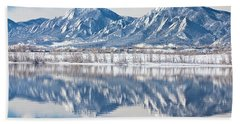 Boulder Reservoir Flatirons Reflections Boulder Colorado Beach Towel