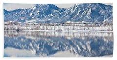 Boulder Reservoir Flatirons Reflections Boulder Colorado Beach Sheet