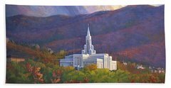 Bountiful Temple In The Mountains Beach Towel by Rob Corsetti