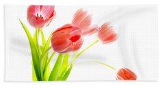 Tulips Flower Bouque In Digital Watercolor Beach Towel