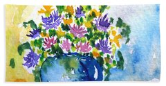 Bouquet Of Flowers In A Vase Beach Sheet