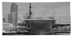 Bow Of The Uss Midway Museum Cv 41 Aircraft Carrier - Black And White Beach Towel by Claudia Ellis
