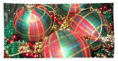 Bowl Of Christmas Colors Beach Sheet by Barbara McDevitt