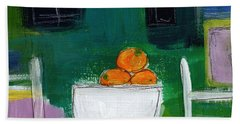 Bowl Of Oranges- Abstract Still Life Painting Beach Towel