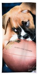 Boxer Puppy Cuteness Beach Towel by Peggy Franz