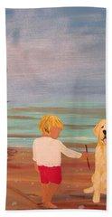 Boy And Dog Beach Sheet