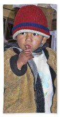 Boy Eating Quail Egg - Cusco Peru Beach Sheet
