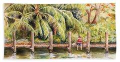Boy Fishing With Dog Beach Sheet
