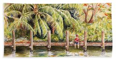 Boy Fishing With Dog Beach Towel