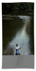Boy Fly Fishes In River In Nc Beach Towel