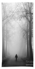 Boy In The Fog Beach Towel