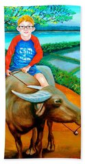 Boy Riding A Carabao Beach Sheet by Lorna Maza