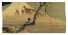 Boy Viewing Mount Fuji Beach Sheet