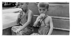Boys Eating Ice Cream Cones Beach Towel