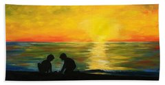 Boys In The Sunset Beach Towel