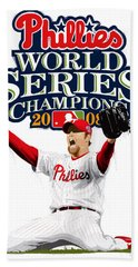 Brad Lidge Ws Champs Logo Beach Towel by Scott Weigner
