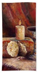 Beach Towel featuring the painting Bread And Wine by Lou Ann Bagnall
