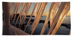 Break Wall Winter Sunrise Beach Towel