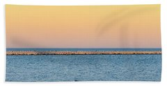 Beach Towel featuring the photograph Breaking The Sunset by Steven Santamour