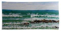 Breaking Waves Beach Sheet by Pamela  Meredith