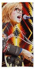 Beach Towel featuring the painting Brett Dennen by Joshua Morton