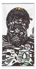 Brett Keisel 2 Beach Sheet by Jeremiah Colley