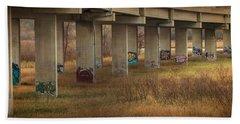 Beach Towel featuring the photograph Bridge Graffiti by Patti Deters