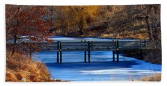 Beach Towel featuring the photograph Bridge Over Icy Waters by Elizabeth Winter