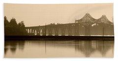 Bridge Reflection In Sepia Beach Sheet